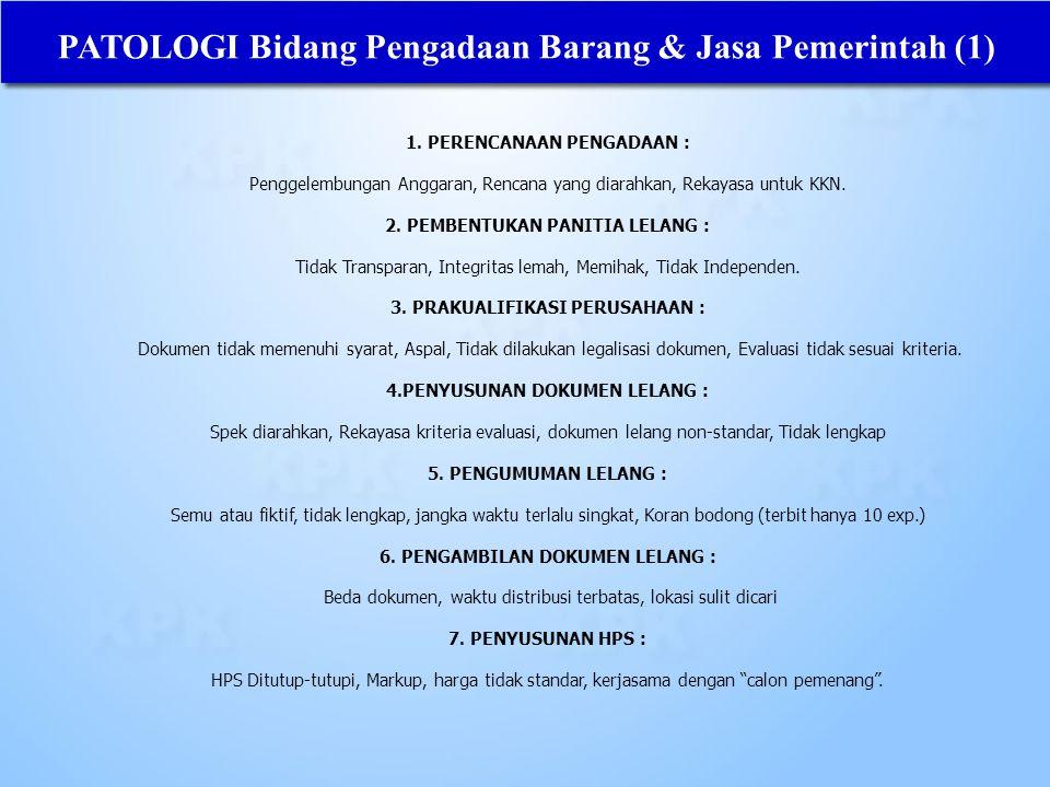 PATOLOGI Bidang Pengadaan Barang & Jasa Pemerintah (1)