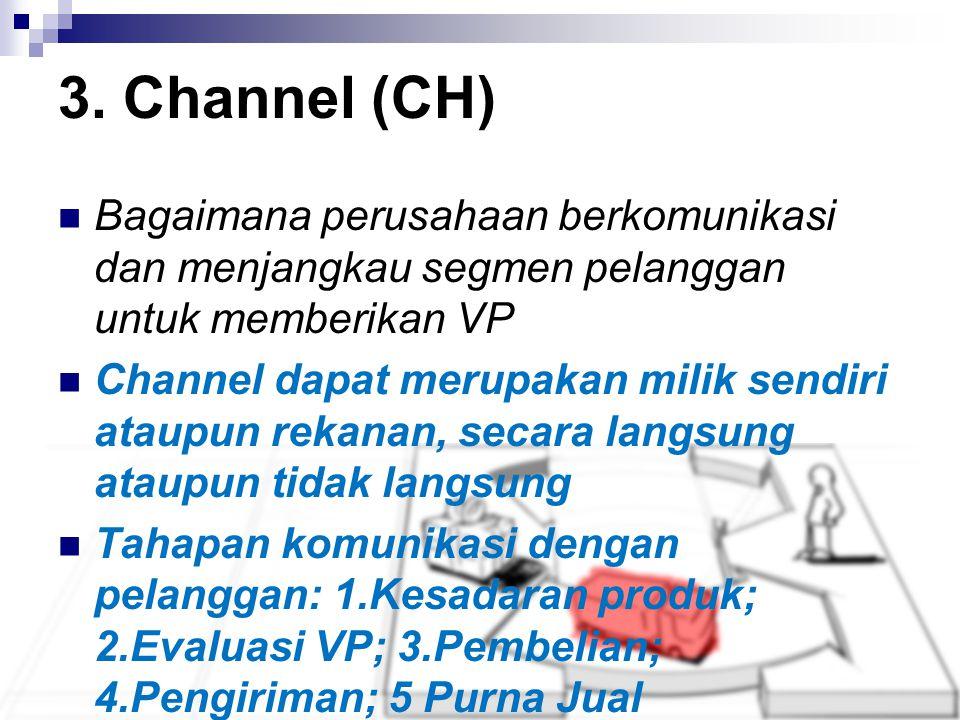 3. Channel (CH) Bagaimana perusahaan berkomunikasi dan menjangkau segmen pelanggan untuk memberikan VP.