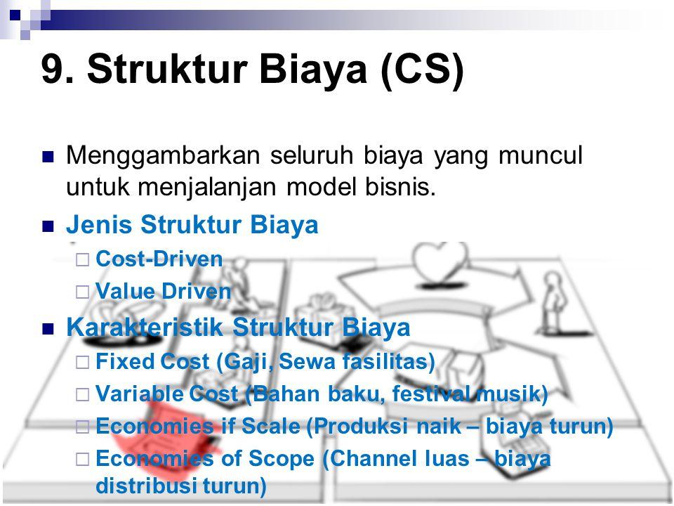 9. Struktur Biaya (CS) Menggambarkan seluruh biaya yang muncul untuk menjalanjan model bisnis. Jenis Struktur Biaya.
