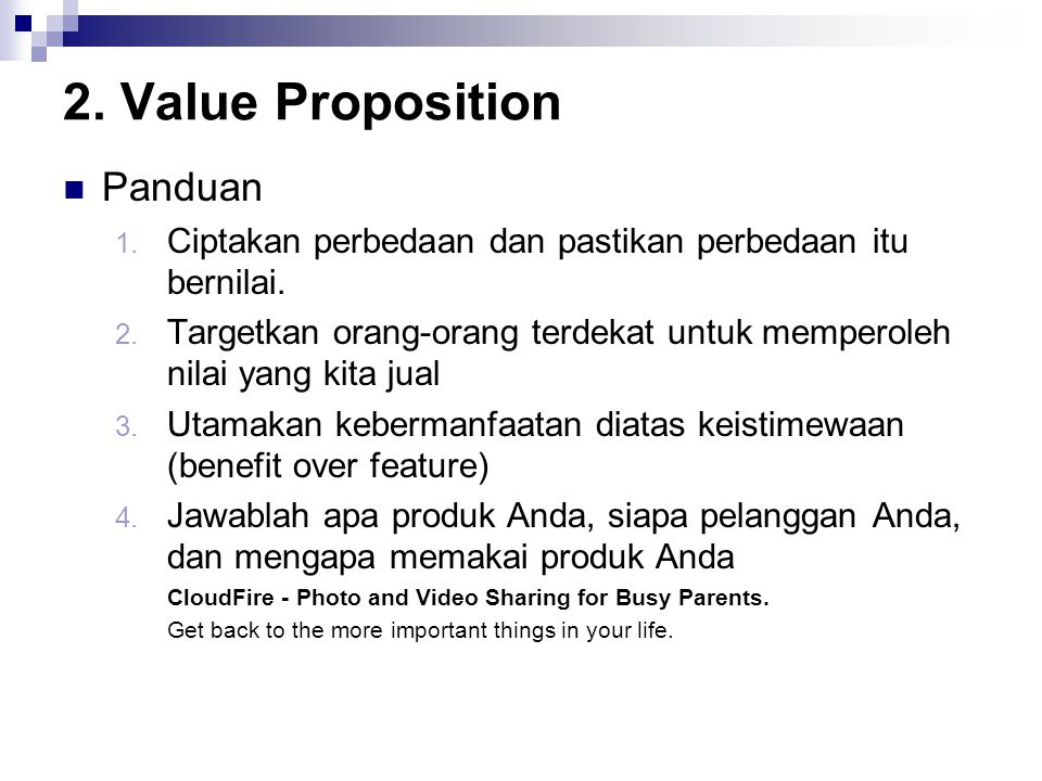 2. Value Proposition Panduan