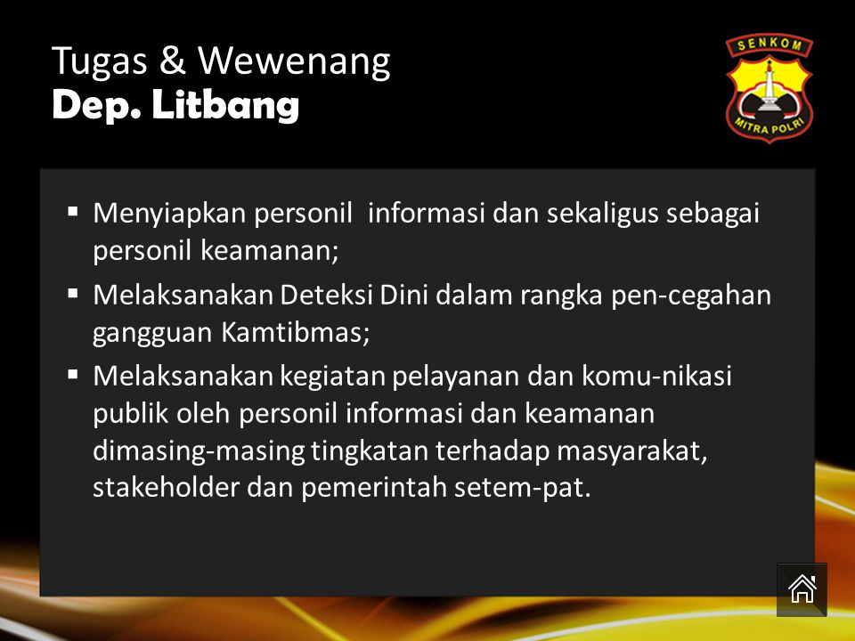 Tugas & Wewenang Dep. Litbang