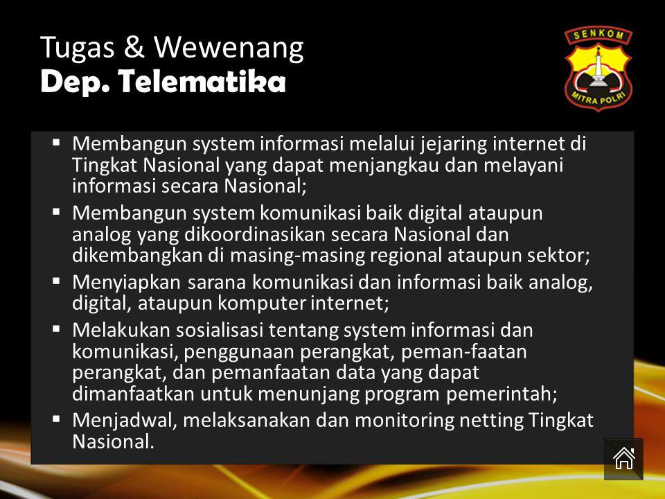 Tugas & Wewenang Dep. Telematika