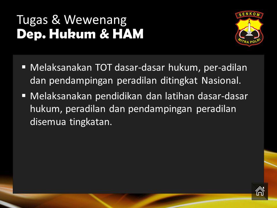 Tugas & Wewenang Dep. Hukum & HAM