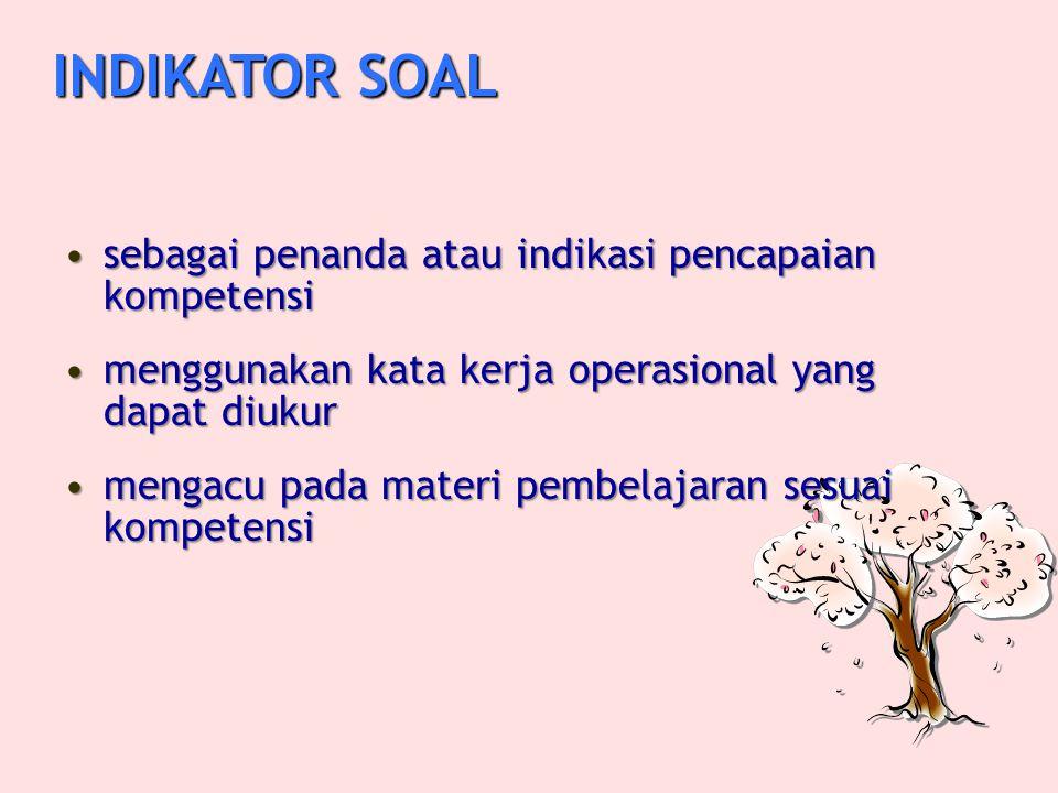 INDIKATOR SOAL sebagai penanda atau indikasi pencapaian kompetensi