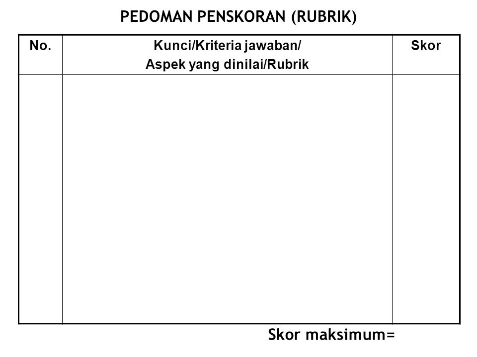 PEDOMAN PENSKORAN (RUBRIK)