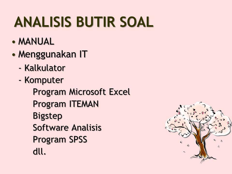 ANALISIS BUTIR SOAL - Kalkulator MANUAL Menggunakan IT - Komputer