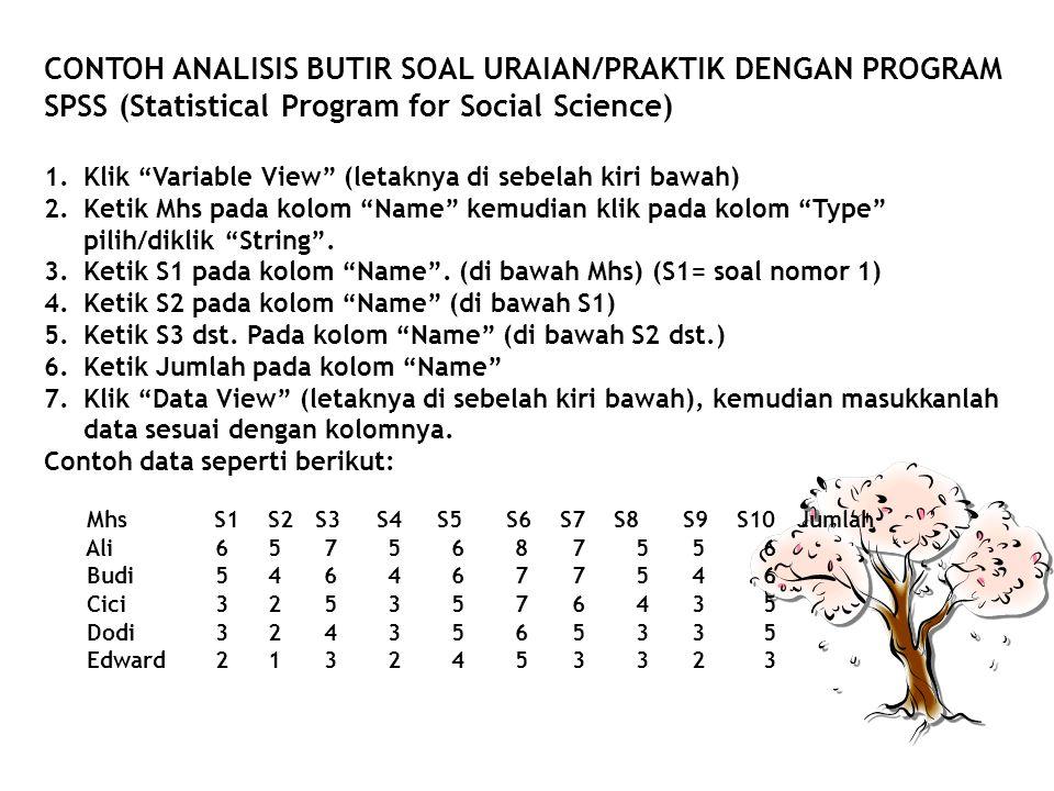CONTOH ANALISIS BUTIR SOAL URAIAN/PRAKTIK DENGAN PROGRAM SPSS (Statistical Program for Social Science)