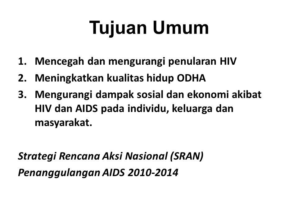 Tujuan Umum Mencegah dan mengurangi penularan HIV