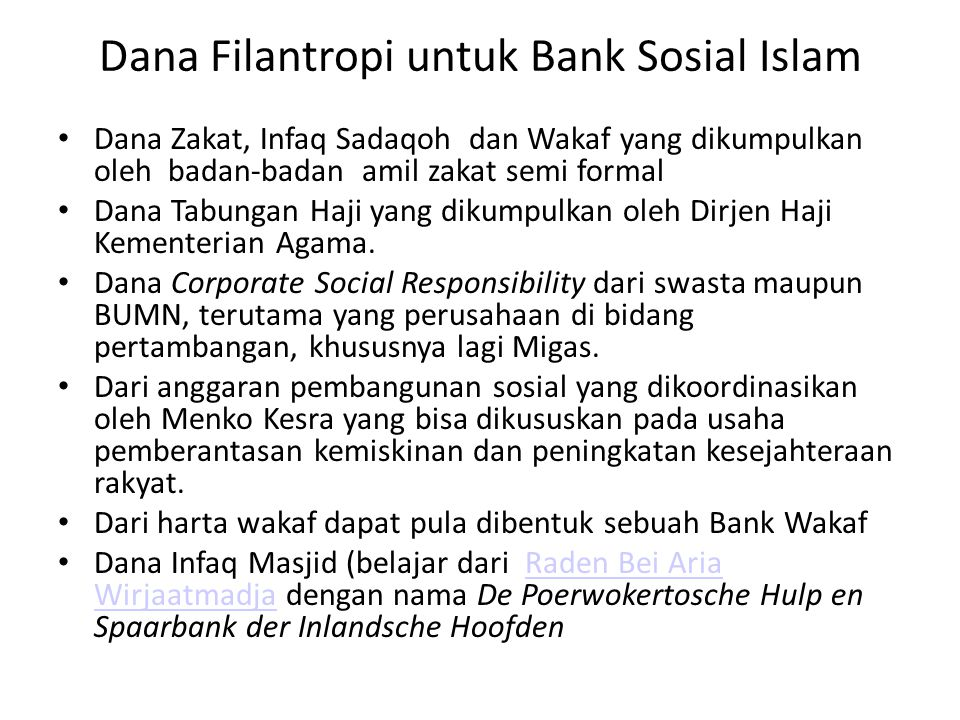 Dana Filantropi untuk Bank Sosial Islam