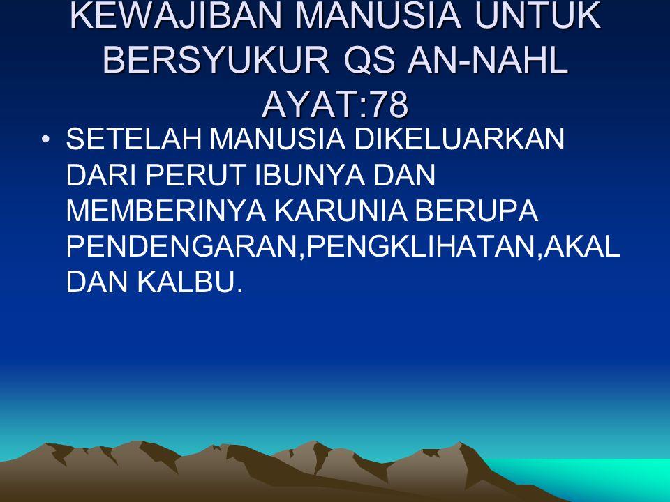 KEWAJIBAN MANUSIA UNTUK BERSYUKUR QS AN-NAHL AYAT:78