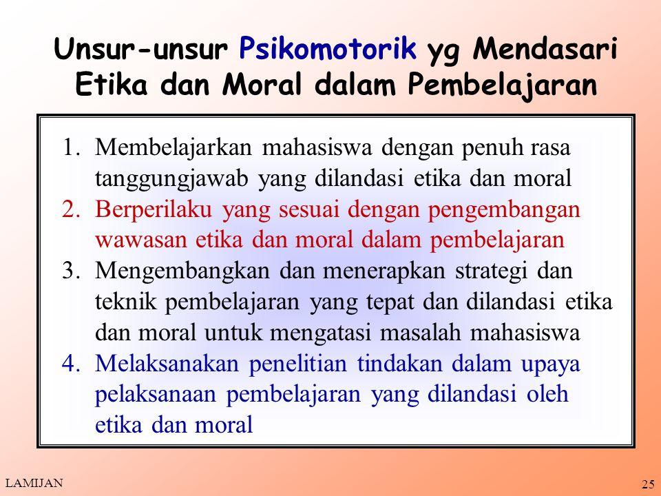 Unsur-unsur Psikomotorik yg Mendasari Etika dan Moral dalam Pembelajaran