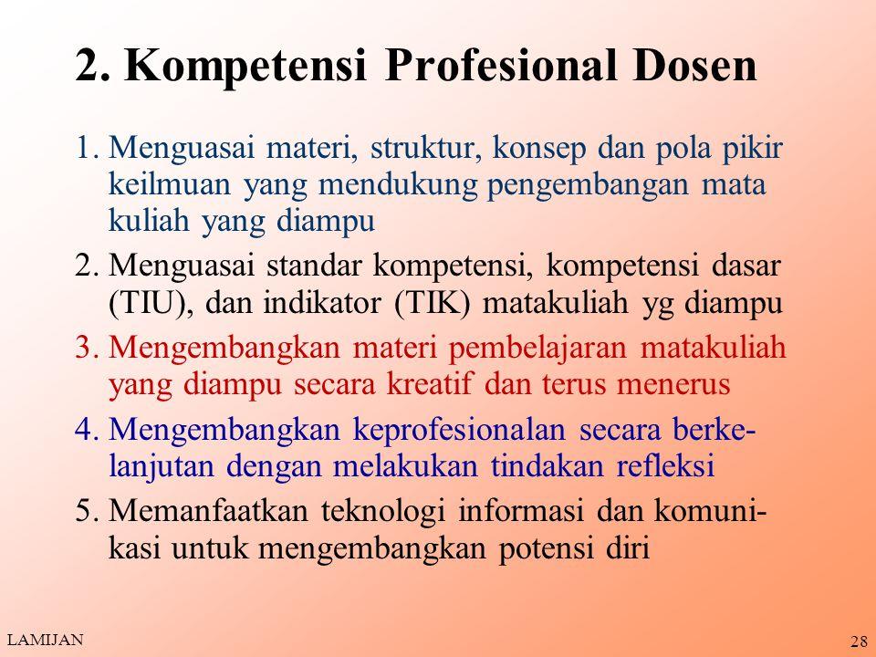 2. Kompetensi Profesional Dosen