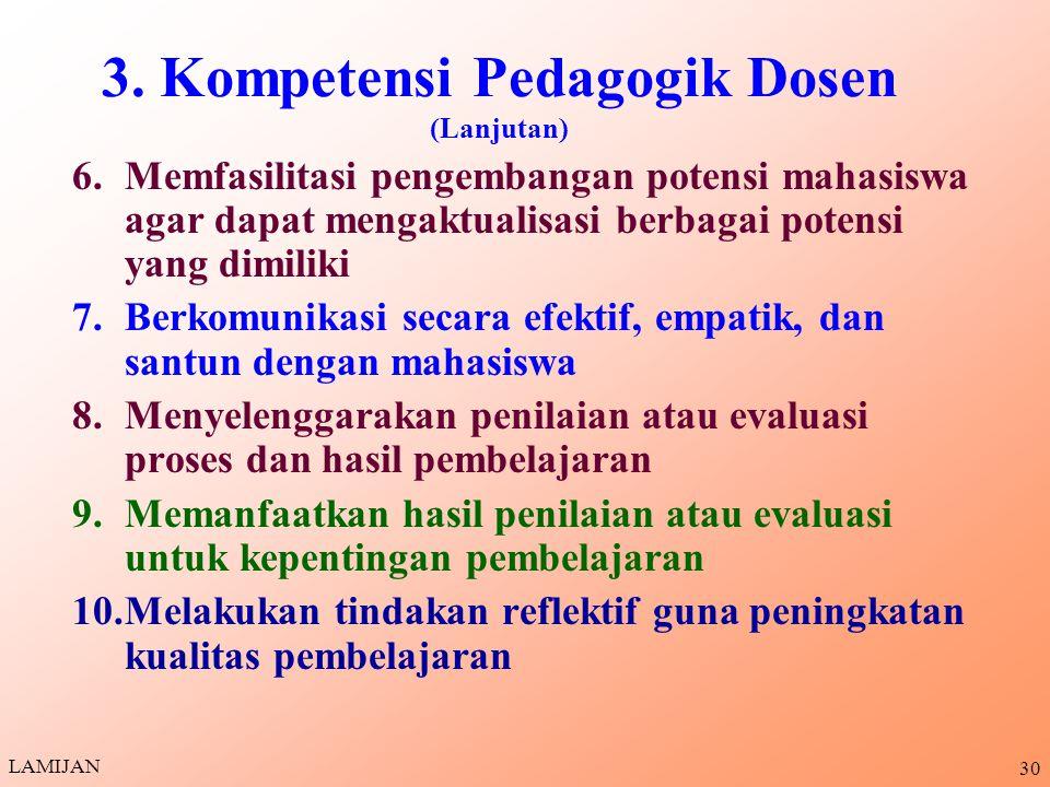 3. Kompetensi Pedagogik Dosen (Lanjutan)