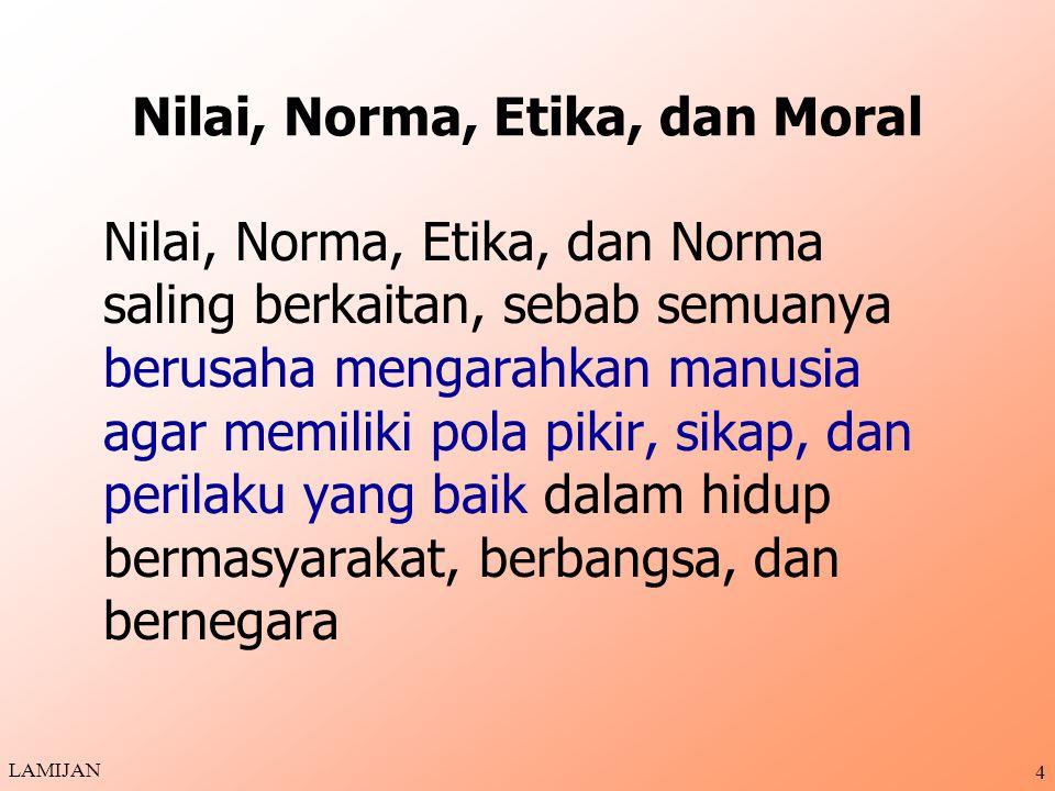 Nilai, Norma, Etika, dan Moral