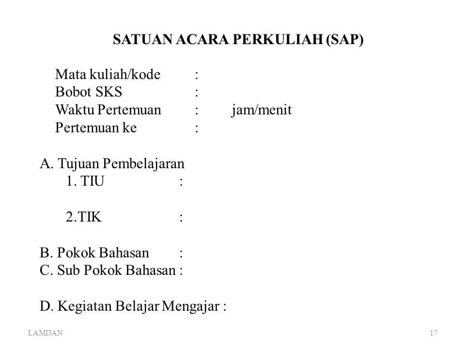 SATUAN ACARA PERKULIAH (SAP)