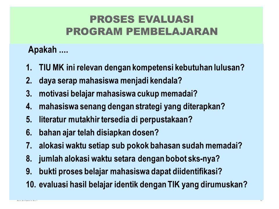 PROSES EVALUASI PROGRAM PEMBELAJARAN
