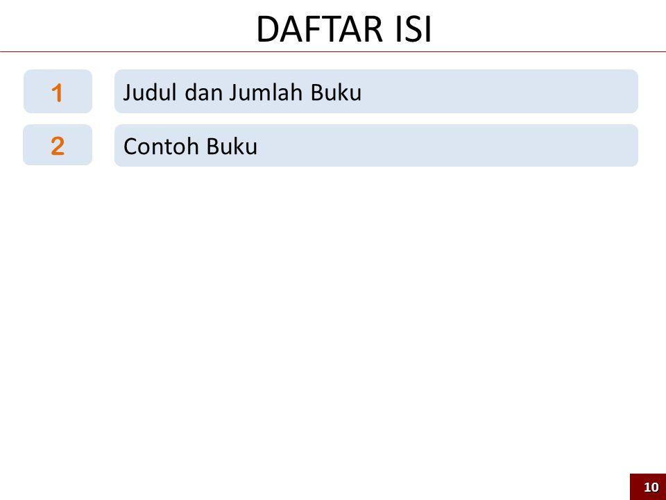 DAFTAR ISI 1 Judul dan Jumlah Buku 2 Contoh Buku 10