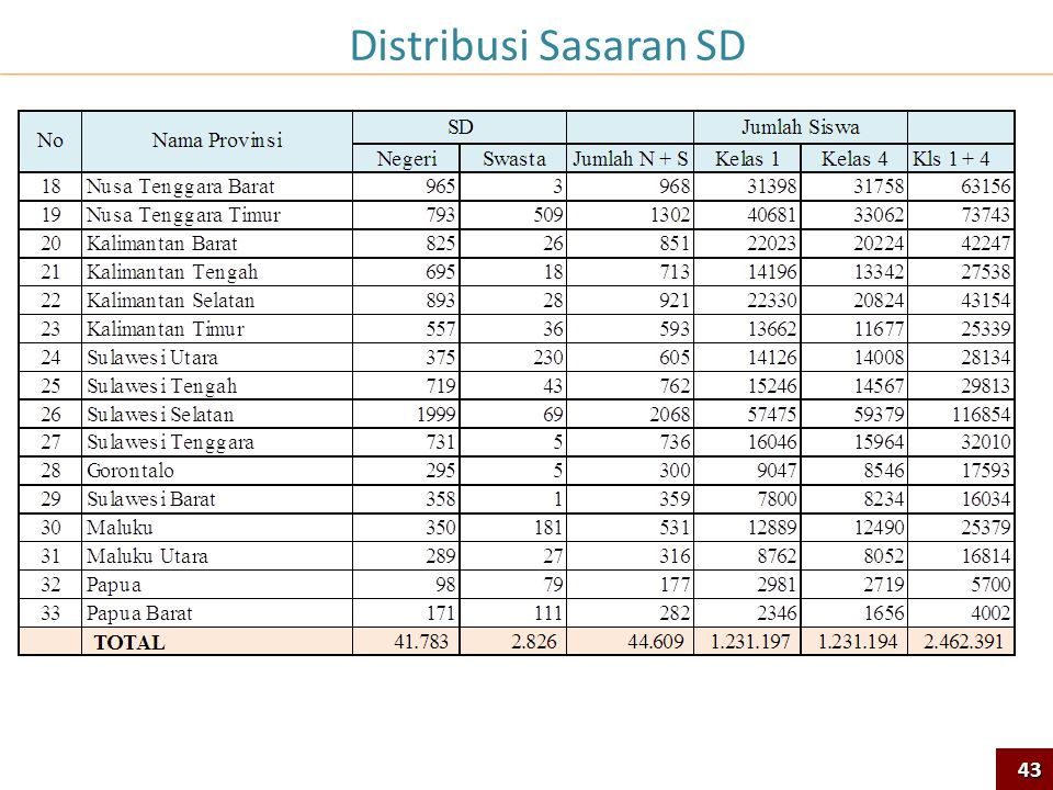 Distribusi Sasaran SD 43