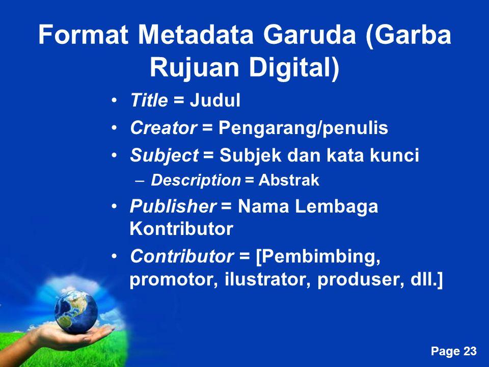 Format Metadata Garuda (Garba Rujuan Digital)