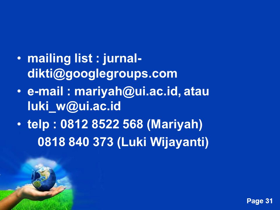mailing list : jurnal-dikti@googlegroups.com