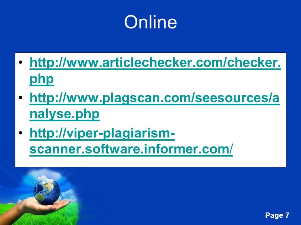 Online http://www.articlechecker.com/checker.php
