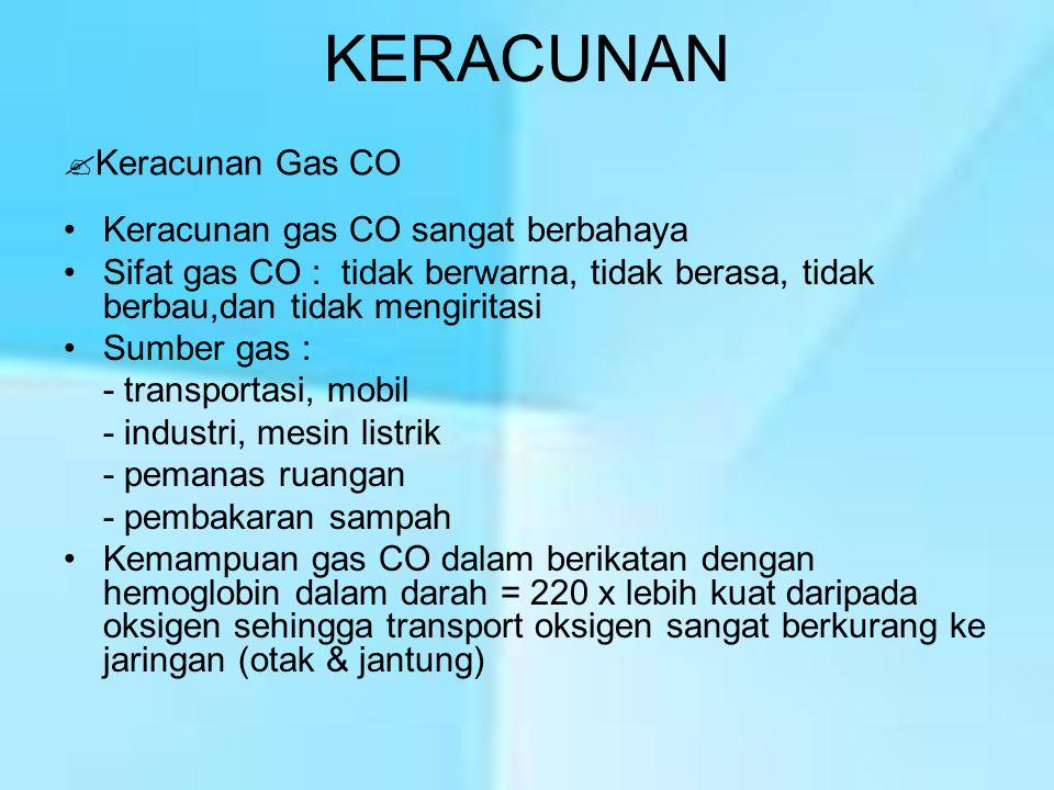 KERACUNAN Keracunan Gas CO Keracunan gas CO sangat berbahaya