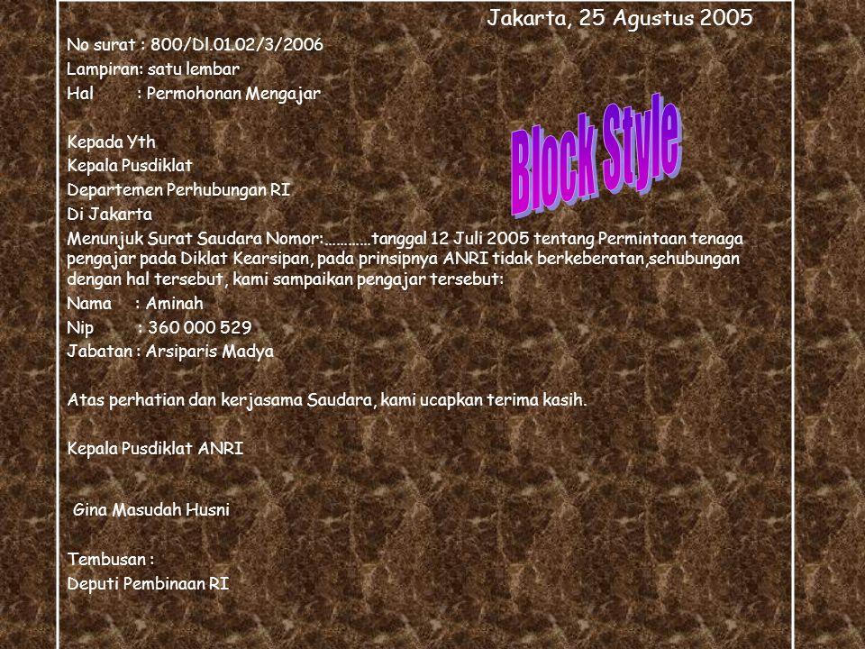 Block Style Jakarta, 25 Agustus 2005 Gina Masudah Husni