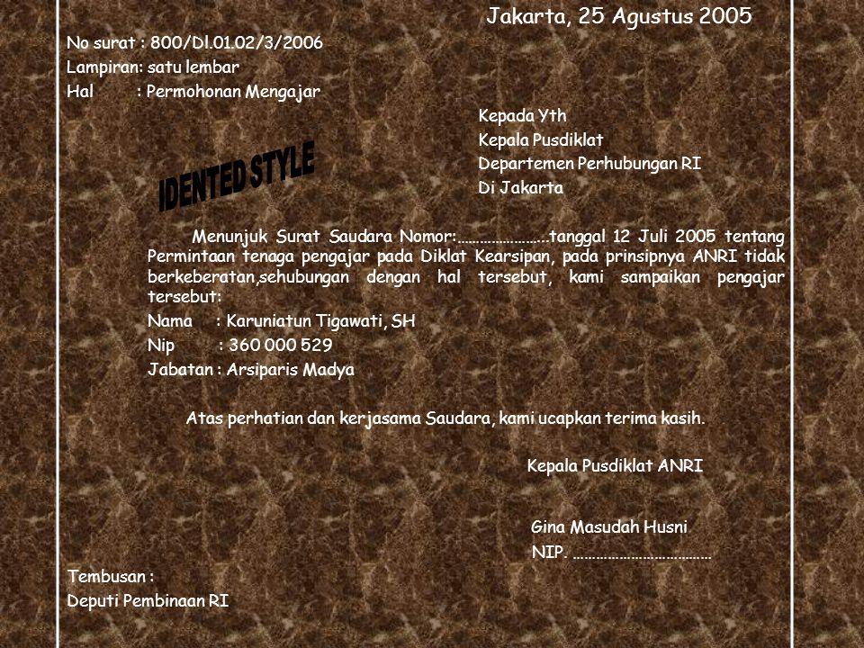 Jakarta, 25 Agustus 2005 Gina Masudah Husni