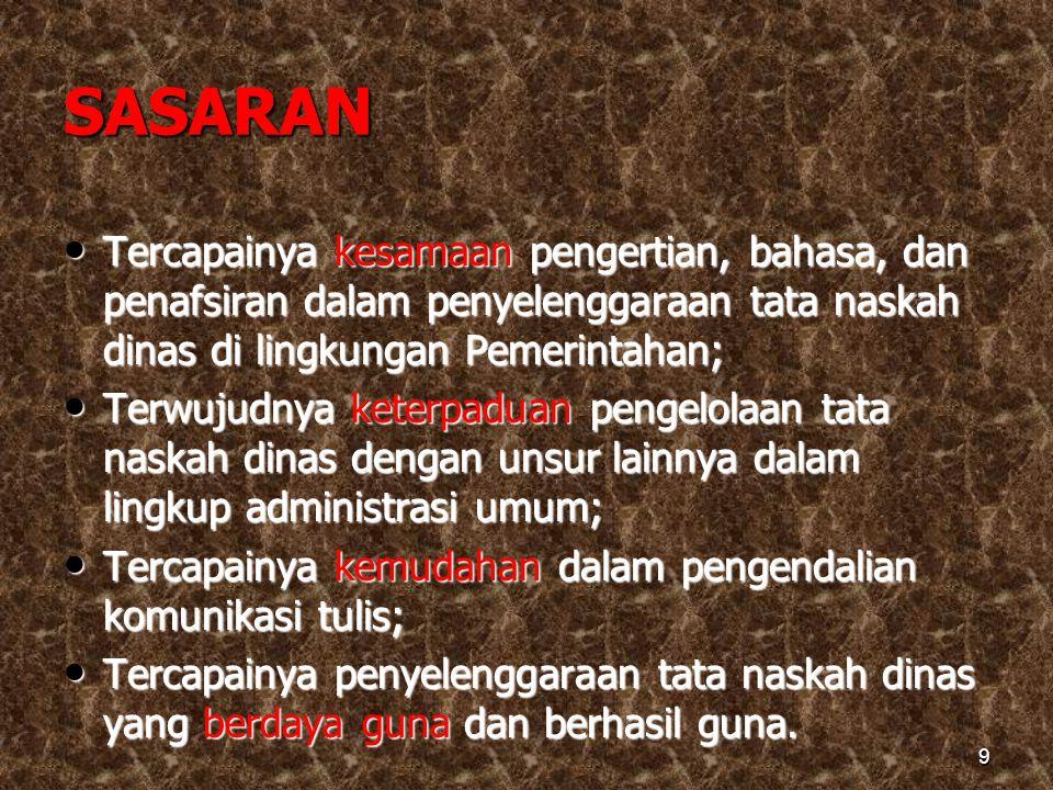 SASARAN Tercapainya kesamaan pengertian, bahasa, dan penafsiran dalam penyelenggaraan tata naskah dinas di lingkungan Pemerintahan;
