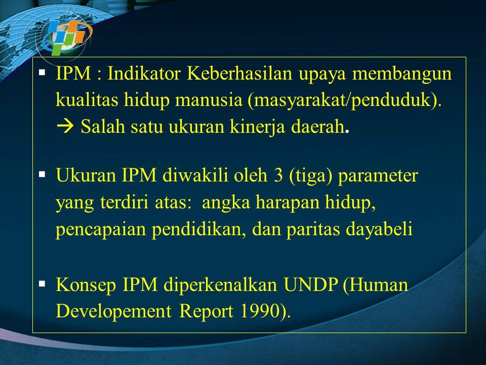 IPM : Indikator Keberhasilan upaya membangun kualitas hidup manusia (masyarakat/penduduk).  Salah satu ukuran kinerja daerah.