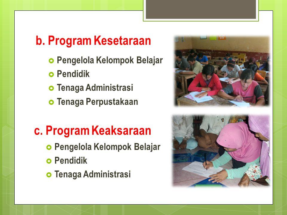 b. Program Kesetaraan c. Program Keaksaraan Pengelola Kelompok Belajar