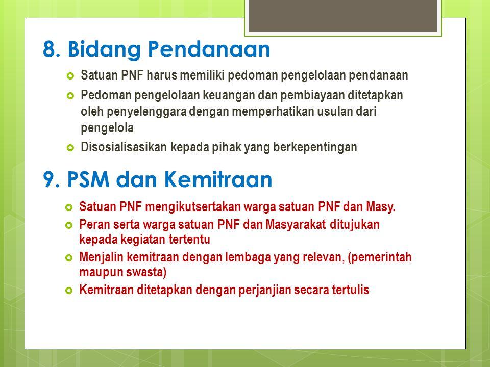 8. Bidang Pendanaan 9. PSM dan Kemitraan