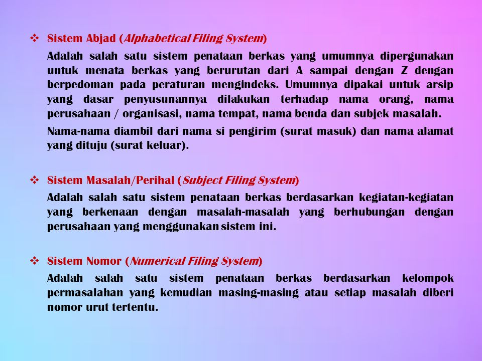 Sistem Abjad (Alphabetical Filing System)