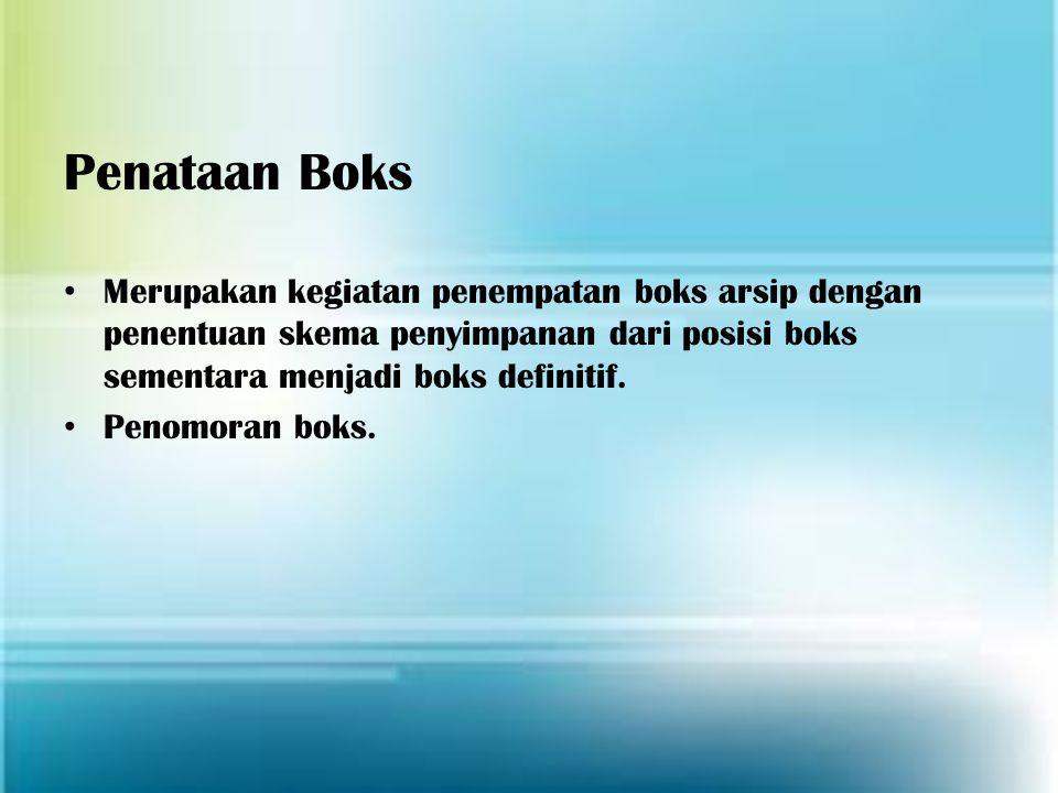Penataan Boks Merupakan kegiatan penempatan boks arsip dengan penentuan skema penyimpanan dari posisi boks sementara menjadi boks definitif.