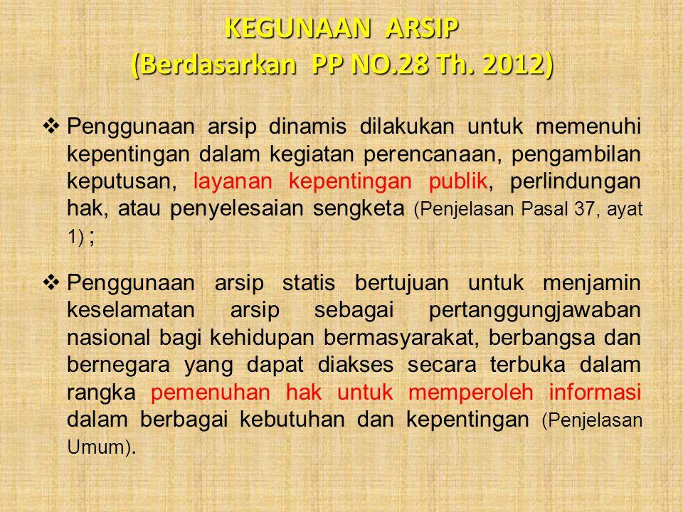 KEGUNAAN ARSIP (Berdasarkan PP NO.28 Th. 2012)