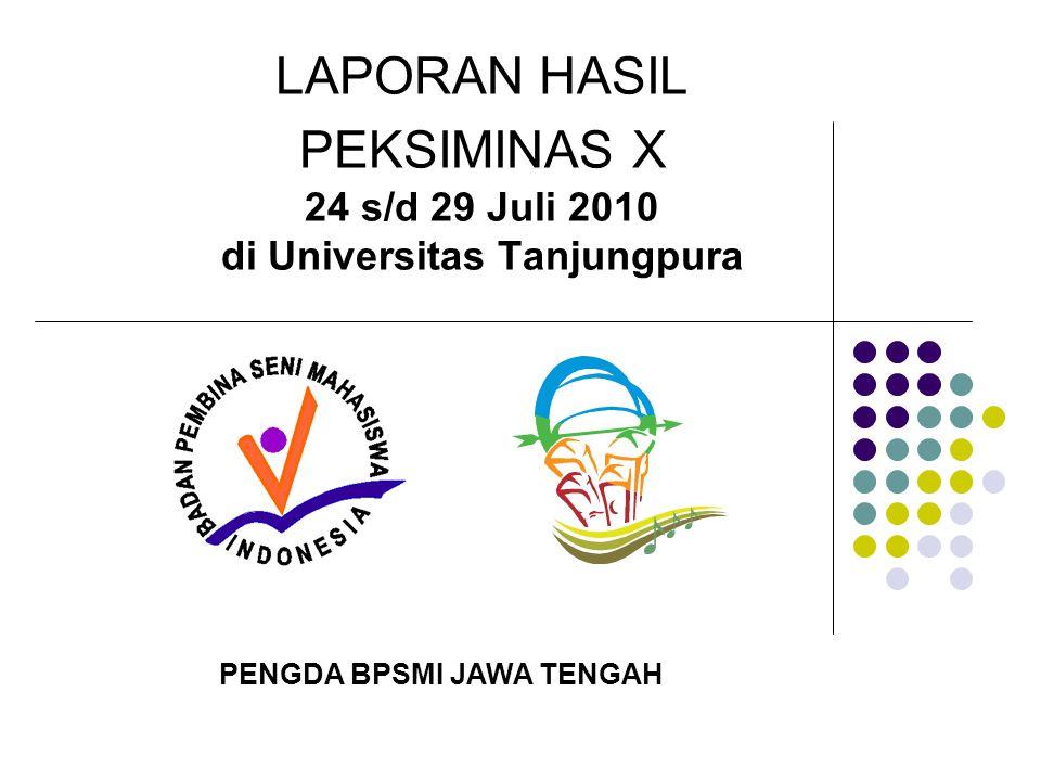 LAPORAN HASIL PEKSIMINAS X 24 s/d 29 Juli 2010 di Universitas Tanjungpura
