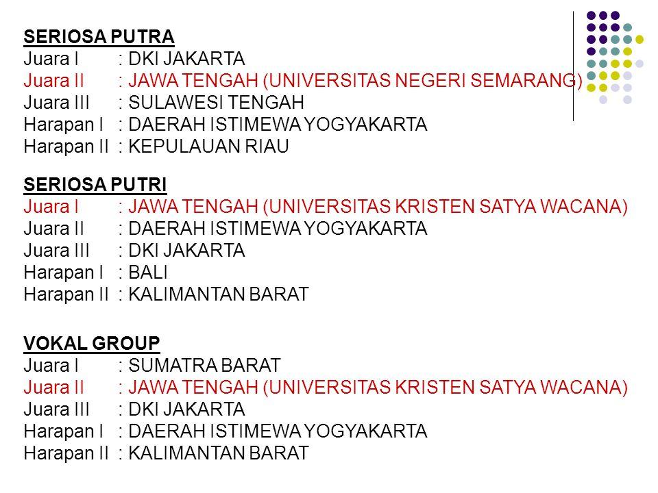 SERIOSA PUTRA Juara I : DKI JAKARTA. Juara II : JAWA TENGAH (UNIVERSITAS NEGERI SEMARANG) Juara III : SULAWESI TENGAH.