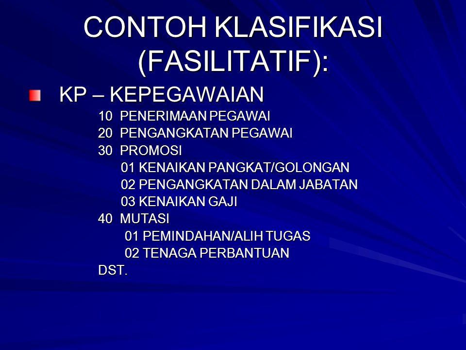 CONTOH KLASIFIKASI (FASILITATIF):
