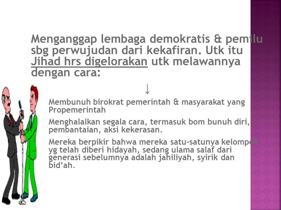 Menganggap lembaga demokratis & pemilu sbg perwujudan dari kekafiran