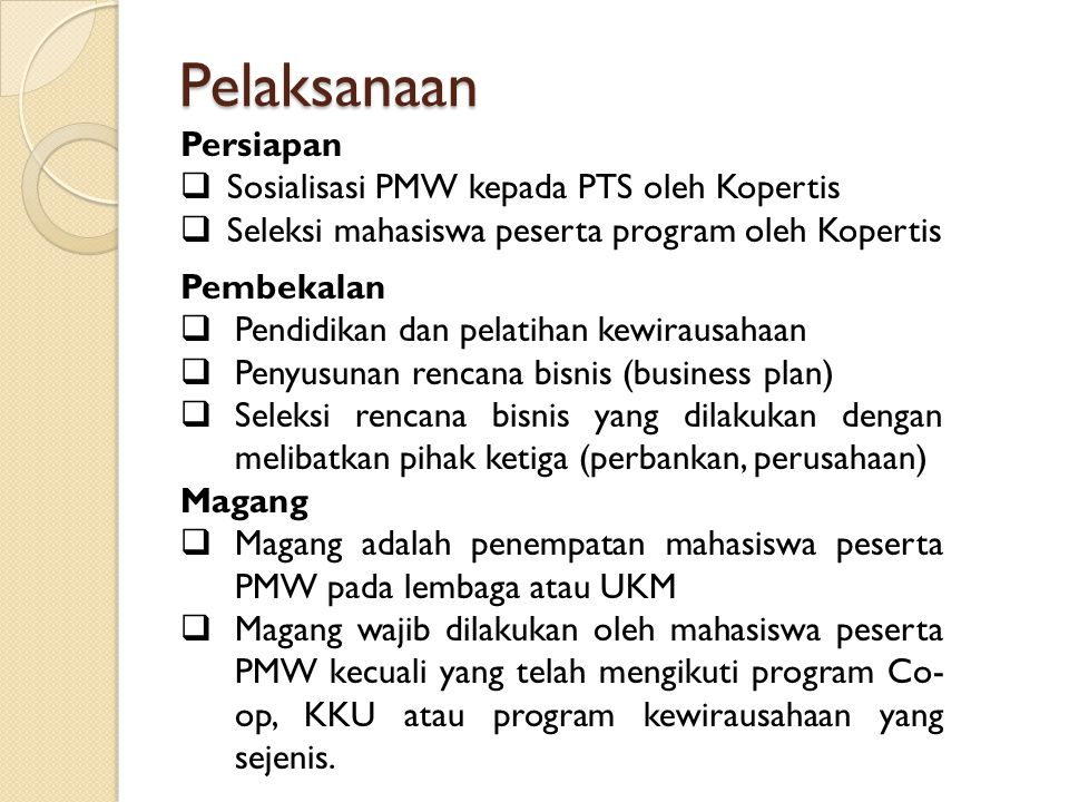 Pelaksanaan Persiapan Sosialisasi PMW kepada PTS oleh Kopertis