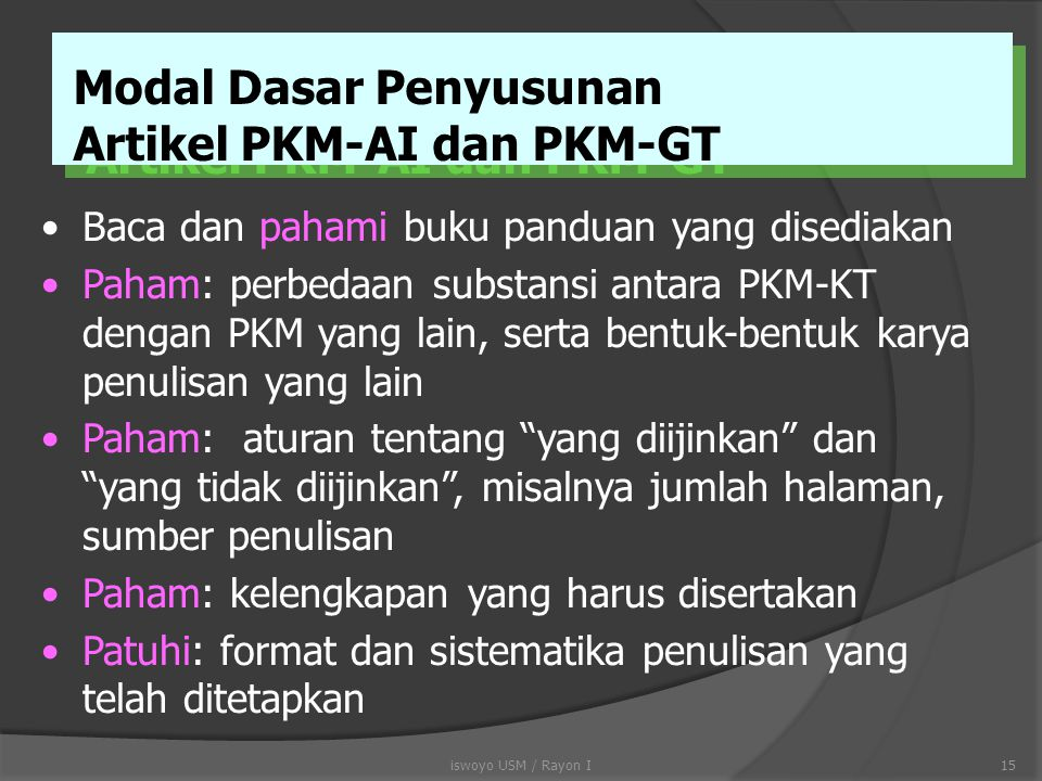 Modal Dasar Penyusunan Artikel PKM-AI dan PKM-GT