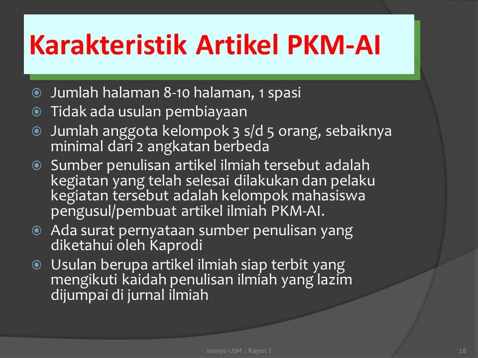 Karakteristik Artikel PKM-AI