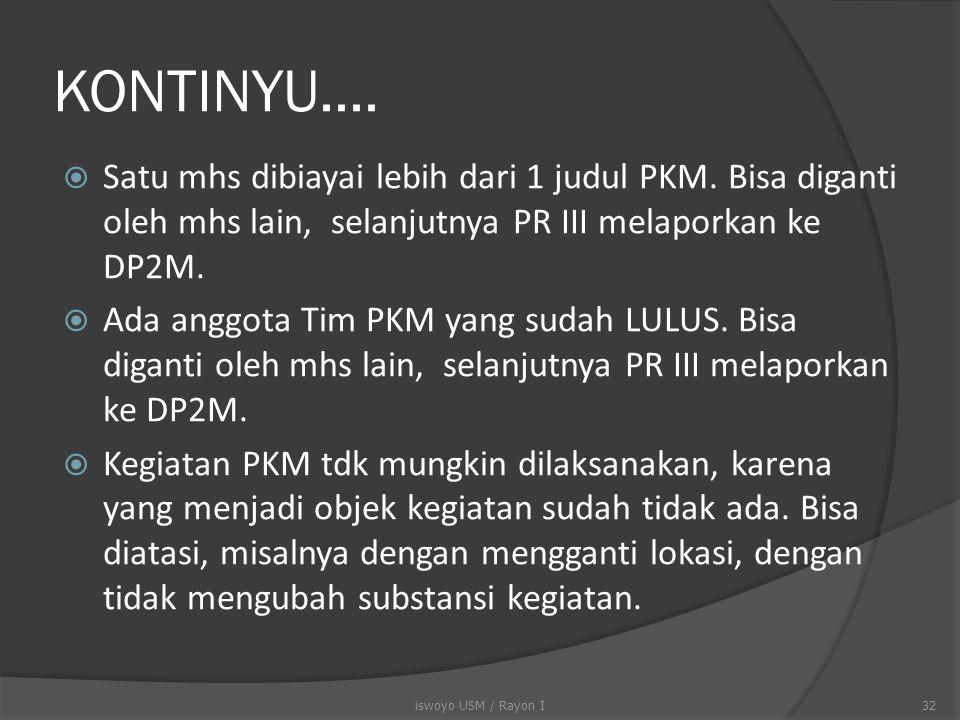 KONTINYU.... Satu mhs dibiayai lebih dari 1 judul PKM. Bisa diganti oleh mhs lain, selanjutnya PR III melaporkan ke DP2M.