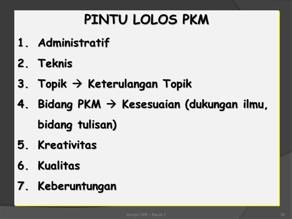 PINTU LOLOS PKM Administratif Teknis Topik  Keterulangan Topik