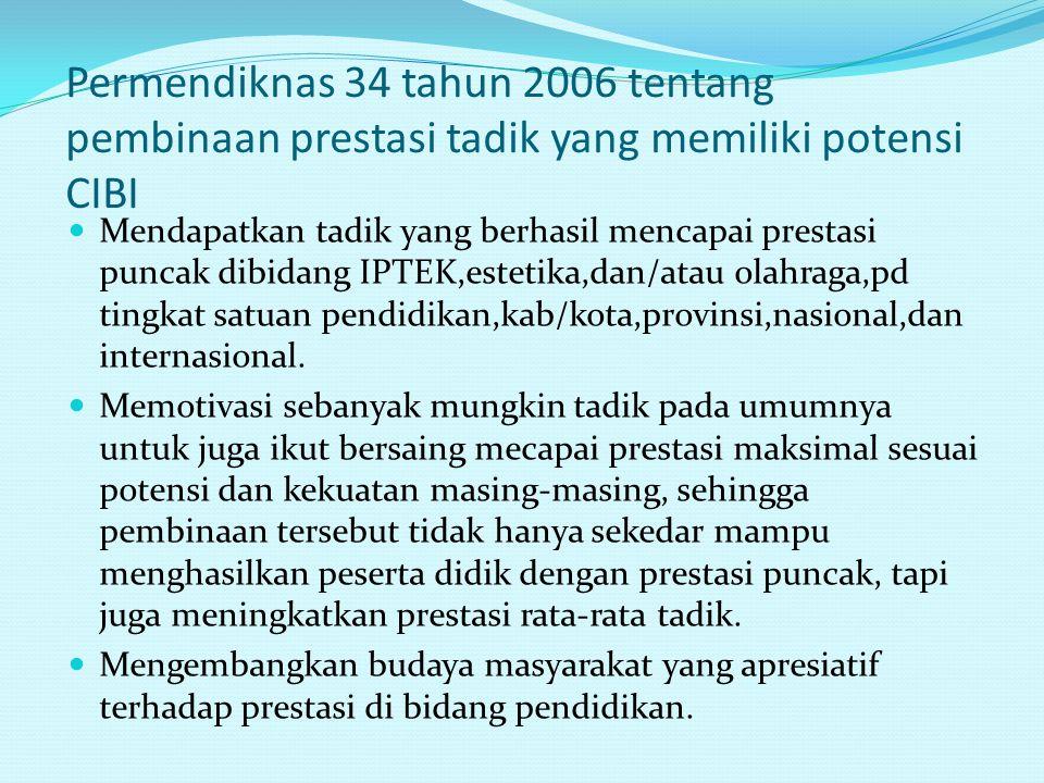 Permendiknas 34 tahun 2006 tentang pembinaan prestasi tadik yang memiliki potensi CIBI