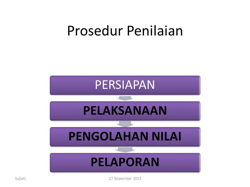 Prosedur Penilaian Sujiati, 27 Nopember 2013 PERSIAPAN PELAKSANAAN