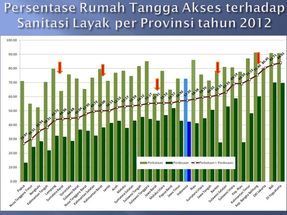 Persentase Rumah Tangga Akses terhadap Sanitasi Layak per Provinsi tahun 2012