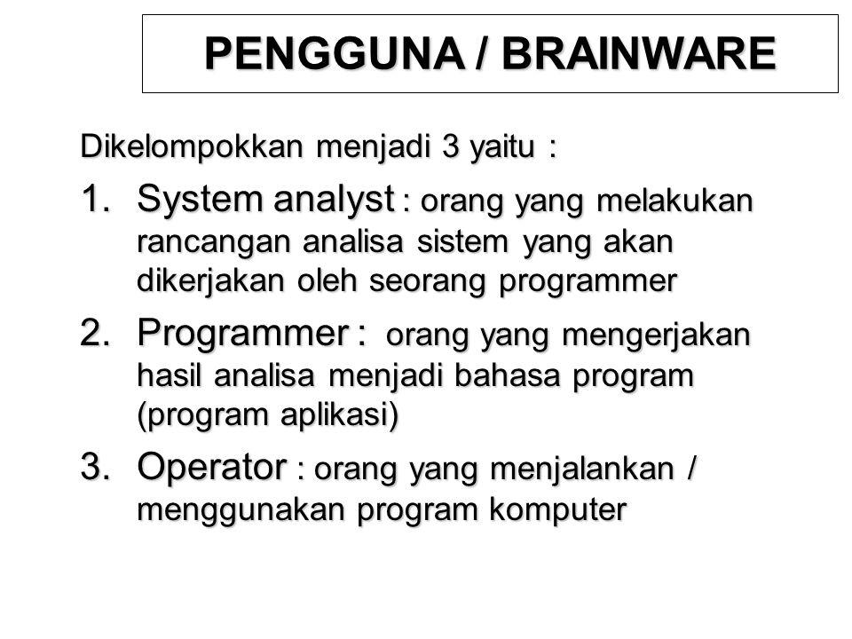 PENGGUNA / BRAINWARE Dikelompokkan menjadi 3 yaitu :