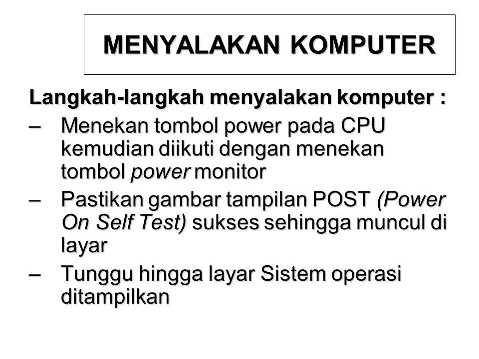 MENYALAKAN KOMPUTER Langkah-langkah menyalakan komputer :