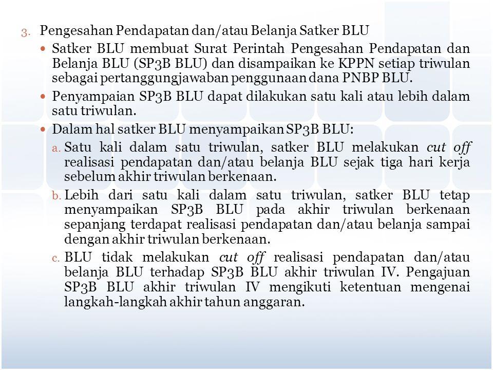 Pengesahan Pendapatan dan/atau Belanja Satker BLU